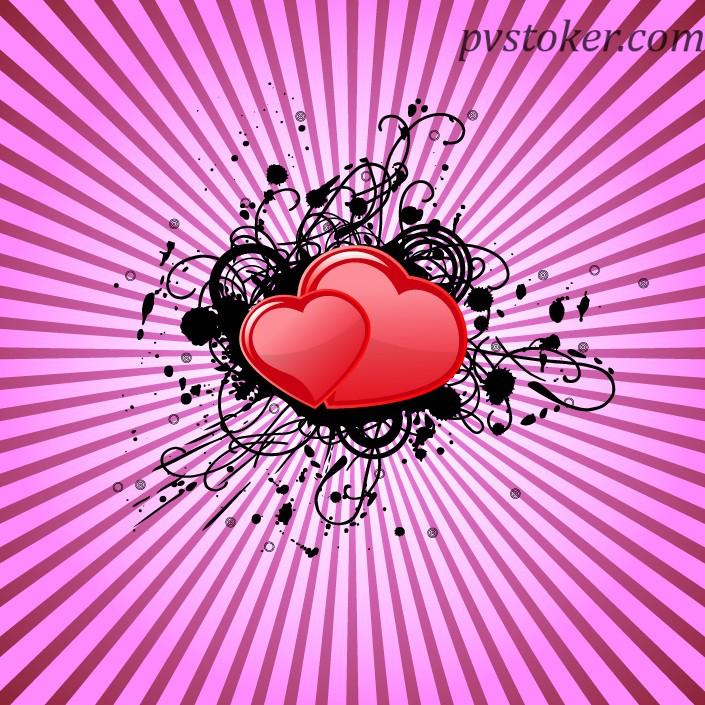 сердце на фоне лучей