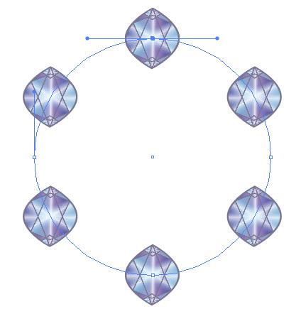 Как распределить векторные объекты по окружности шаг 5