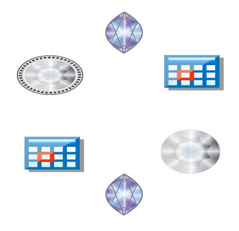 Как распределить векторные объекты по окружности