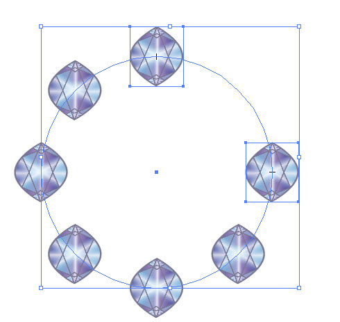 Как распределить векторные объекты по окружности шаг 4